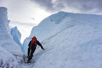 Hiker On Glacier - Interior Alaska