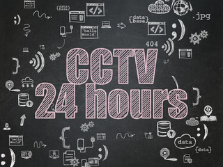 Protection concept: CCTV 24 hours on School Board background