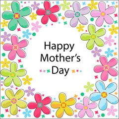 Happy Mother's Day Colorful flowers greeting card vector
