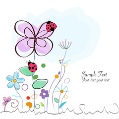Floral decorative greeting card with ladybird vector
