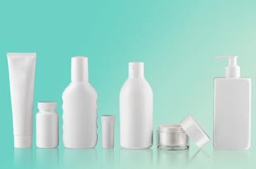 Background. Collection of  various beauty hygiene containers on