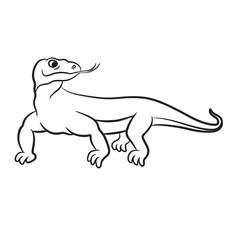 Outlined varan (komodo dragon) vector illustration