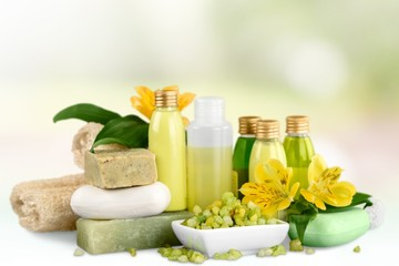 Cosmetics. Beauty center [bottles and bars]