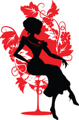 Silhouette of woman sitting on a chair
