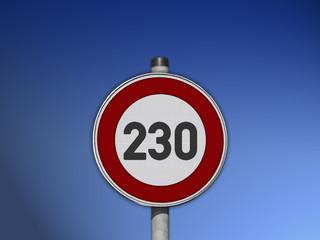 Verkehrsschild Tempo 230