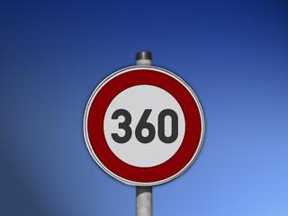 Verkehrsschild Tempo 360