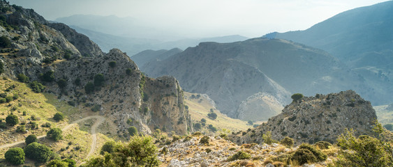 panoramic view to mountains valley on Crete in Greece