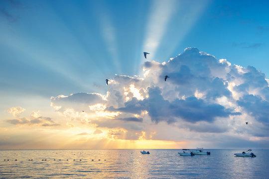 Beautiful sunset over water on Key Largo, Florida, USA
