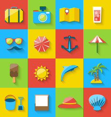 Flat icons of holiday journey, summer pictogram, sea leisure, co