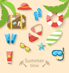 Summer vacation time with flat set colorful simple icons