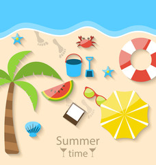 Summer time with flat set colorful simple icons on the beach