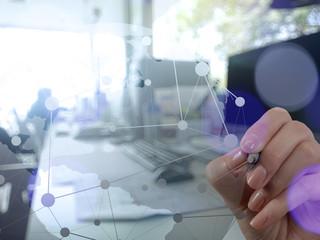 businessman hand working with new modern computer show social ne