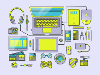 Green Scary Complete Workspace Vector Illustration