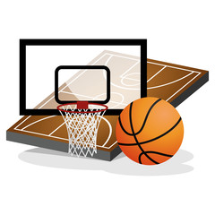 Basket Ball Field and Ball Vector Illustration