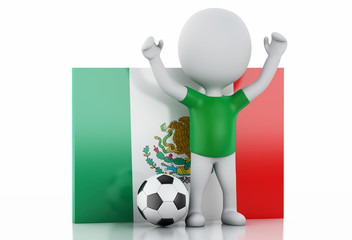 3d white people with Mexico flag and soccer ball.
