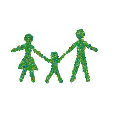 Abstract family made of green flowers.