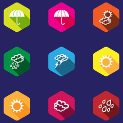 set of weather icons in a flat design