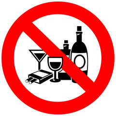 No alcohol and smoking sign, create by vector