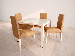 3d illustration of a set of furniture with table and chairs