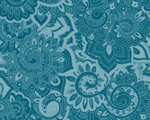 Seamless vector pattern with traditional oriental floral ornamen