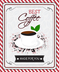 Coffee menu vector poster design in vintage style