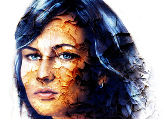 mystic face women, with structure crackle background effect