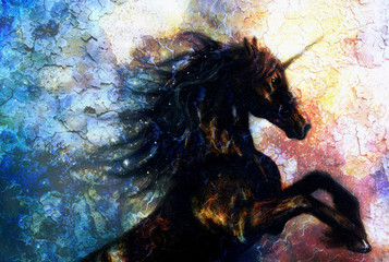 painting of a black unicorn dancing in space, crackle desert
