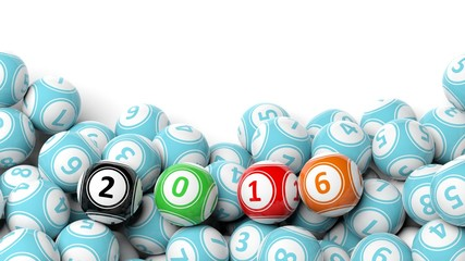 Lucky colorful balls with 2016 on pile with copy-space