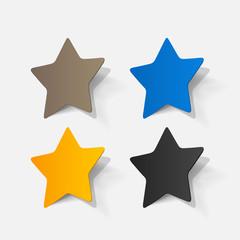 Paper clipped sticker: pentagonal star