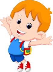 Happy school boy cartoon