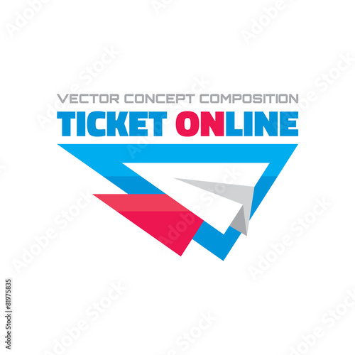 Ticket online vector concept composition Airplane vector logo – Ticket Design Online Free