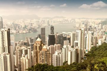 HONG KONG - APRIL 15, 2014: Hong Kong skyline on a spring day. H