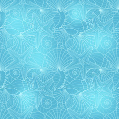 Seamless background with starfish and seashells with blue colour