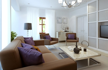 Bright living room modern style