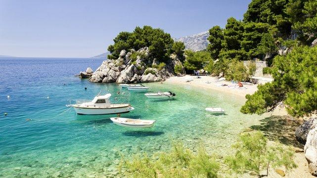 beach in Brela to Makarska Riviera, Dalmatia, Croatia