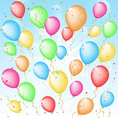 Sunny background with color balloons and confetti