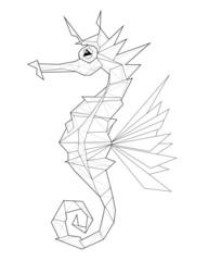 Sea horse. Low polygon linear vector illustration