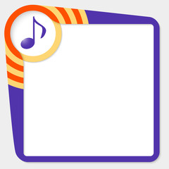 Dark purple box for your text and music icon