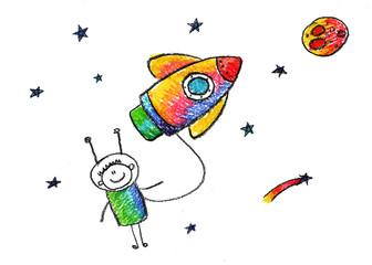 Happy boy with rocket