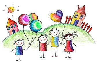 Happy kids with teacher.