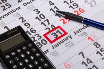 Sift auf Kalender zum Monatsende