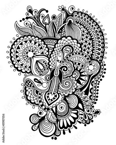 Black Zentangle Line Art Flower Drawing