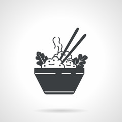 Rice bowl black vector icon