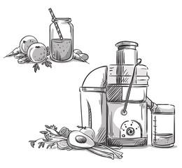 Juicer. Juicing machine. Healthy diet.