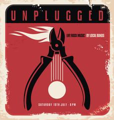 Acoustic concert retro poster design template