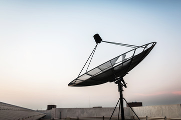 Radar in blue sky sunlight .