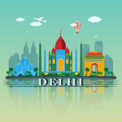 Modern Delhi City Skyline Design. India