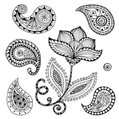 Henna Paisley Mehndi Doodles Abstract Floral Vector Illustration