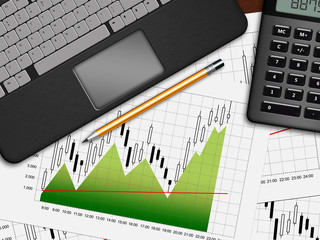 financial chart, laptop and calculator lying on desk in office