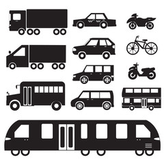 Flat cars concept set icon pictogram illustration design